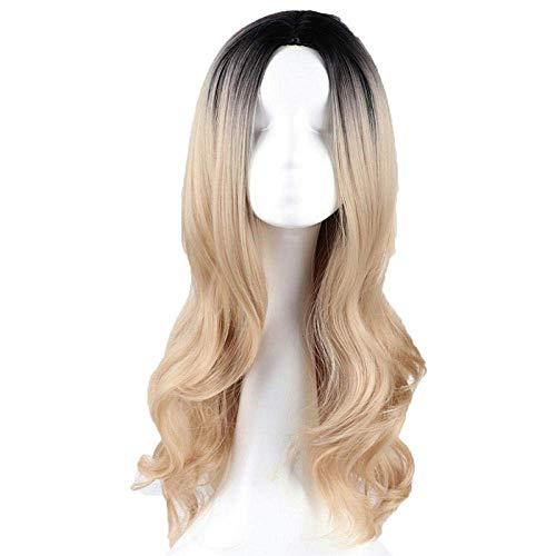 Perruque Charme Naturel Femmes Perruques Cheveux pour Femmes Longues Ondulées Perruques Doré Naturel Synthétique Moyen Partie Brun