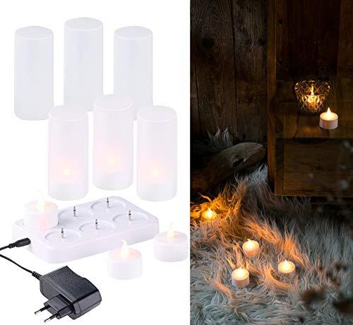 Lunartec wiederaufladbare Kerzen: 6 LED-Akku-Teelichter, flackernde Flamme, Teelichthalter, Ladestation (LED Kerzen wiederaufladbar)
