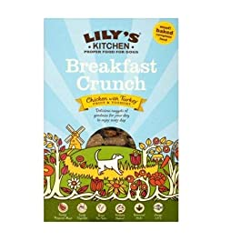 Lily Kitchen Breakfast Crunch 6 x 800g Baked Dry Dog Food Complete Food Freshly Prepared Turkey & Wholesome Chicken Balance Diet Omega-3 Healthy Heart