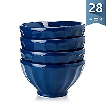 Sweese Fluted Latte Bowl Set - 28 Ounce Stable and Deep - Microwavable Bowls for Cereal, Soup, Noddle - Set of 4, Navy