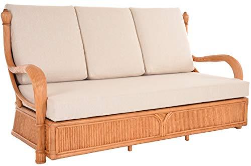 korb.outlet Edles Wohnzimmer Schlafsofa Rattan-Sofa Prince 3-Sitzer Liegesofa Wintergarten Couch Rattansofa Sofa (Beige)