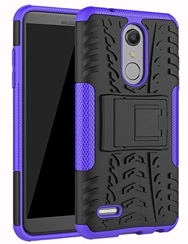 Yiakeng Kompatibel mit LG K30 Phoenix Plus Premier Pro LTE-Hülle, K10 2018 Hülle, doppellagige stoßfeste Brieftasche, schlanke Schutzhülle Ständer, harte Handy-Abdeckung (lila)