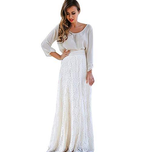 Riou Damen Spitzenrock Weiß Lang Röcke Sommer Frauen Mode Elegant Weiss Lange Damenrock Long 2 Layer Taillenrock für Casual Party (S, Weiß)