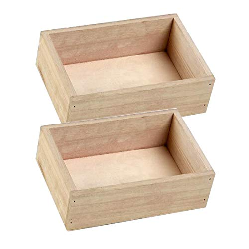 Luoshan 2PCS Quadrato retrò Multi-Carne in Legno Piccolo Vaso di Fiori Scatola di Legno Decorazione Giardinaggio casa