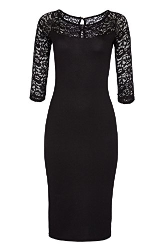 Laeticia Dreams Damen Kleid aus Spitze Langarm Wadenlang S M L XL XXL XXXL, Farbe:Schwarz Modell...