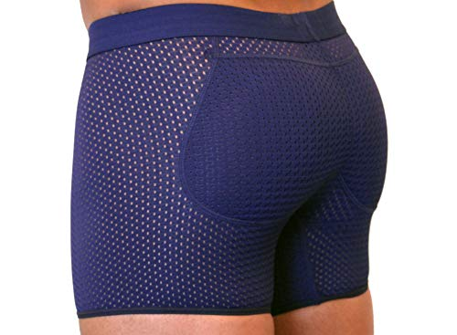 ButtboosteLLC.com Boxers Men's Padded Enhancing Breathable Mesh Underwear BLB Navy Blue Large
