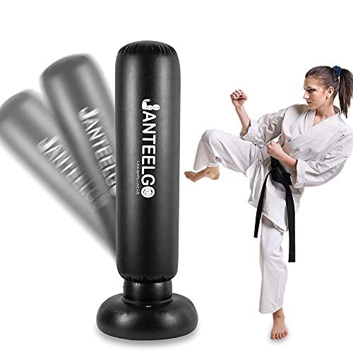 Boxsack Kinder 150cm - JanTeelGO Freistehender Standboxsack Boxing Trainer für Sofortiges Zurückspringen zum Üben von Karate Taekwondo MMA zum Entlasten Für Jugendliche Erwachsene