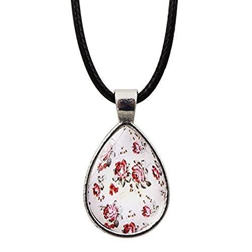 WDBUN Collar Colgante Joyas Accesorios Rosa Hermosa Flor de Rosa Time Gemstone Moda Plata Gota Collar Colgante de cordón de Cuero Navidad cumpleaños Regalo(Imagen Personalizable)