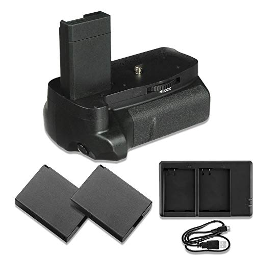 Pro Camera Battery Grip Replacement for Canon EOS Rebel T5, T6 & T7 DSLRs with Replacement Batteries & Dual USB Charger