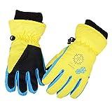 Azarxis Kinder Handschuhe Winter Ski Handschuhe für Kinder Mädchen Jungen Radfahren Skifahren Snowboarden (Gelb, M (9-12 Jahre))