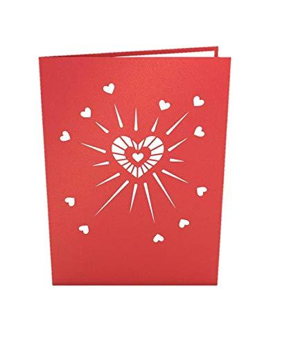 Tarjeta de felicitación de Origami con corazones