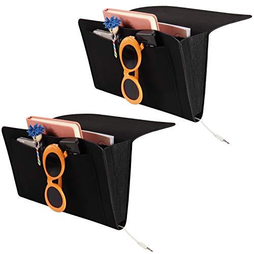 Homiton 2 paquetes de 2 cestas de fieltro para mesita de noche con 5 bolsillos, organizador de cama para colgar debajo del colchón para litera, dormitorio universitario, ordenador...