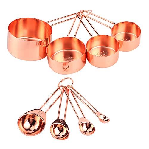 Kudoo Taza de Cuchara medidora, 8 Piezas Conveniente Juego de Tazas medidoras, con Hebilla de Almacenamiento Desmontable para Hornear, Accesorio de Cocina para el hogar, medición(Rose Gold)