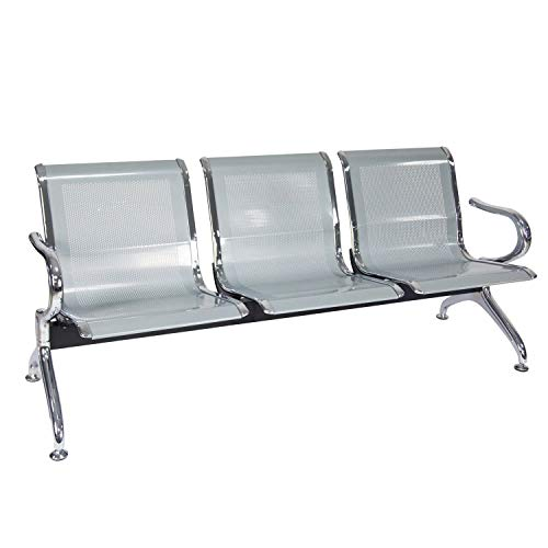 Reception Chair Waiting Room Chair with Arms Reception Bench for Business, Office, Hospital, Market, Airport (Silver, 3 Seats)