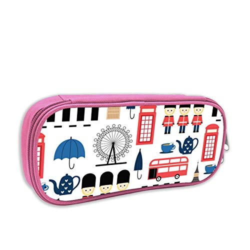 Lawenp Print Pencil Bag London Landmark Seamless Elements Portable Pencil Holders Pouch Stationery Organizer Case with Zipper