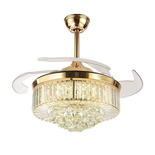 OUKANING Ventiladores de techo retráctiles de cristal con forma de abanico moderno con luz de 3 color y ventilador de araña de cristal LED invisible remoto para sala de Estar Comedor 42pulgadas dorado