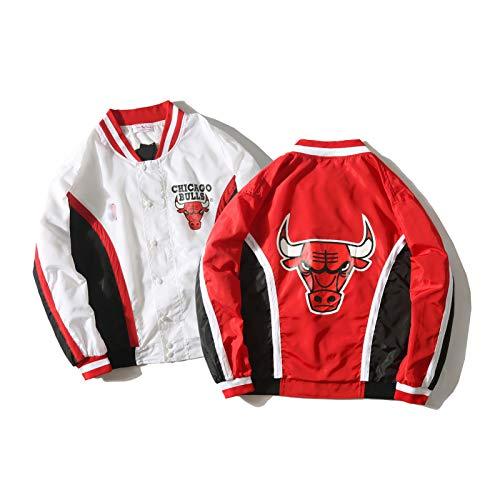 Chicago Bulls Retro Basketballjacke Aussehen Kleidung Lose Frühling und Herbst Langarm Windjacke Sport Jersey Manteljacke Rot und Weiß S-XL red-XL