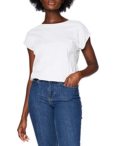 Urban Classics Ladies Extended Shoulder tee Camiseta, Blanco, M para Mujer