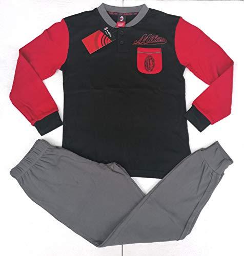 A.C Milan - Pijama para niño, producto oficial (negro), COME DA FOTO, 14 ANNI