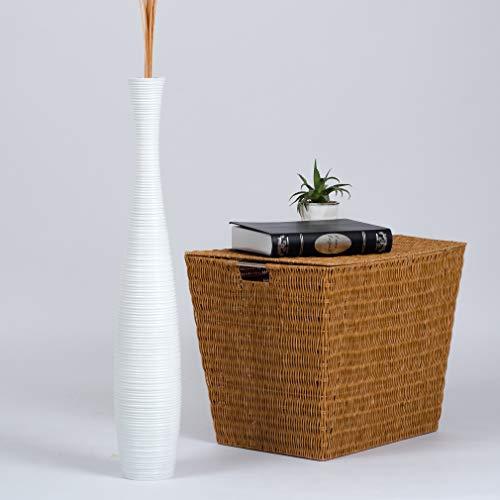 Leewadee Große Bodenvase für Dekozweige hohe Standvase Design Holzvase 75 cm, Mangoholz, weiß