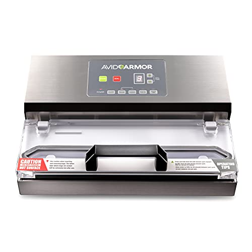 Avid Armor Vacuum Sealer Machine - A100 Stainless Construction, Clear Lid, Commercial Double Piston...