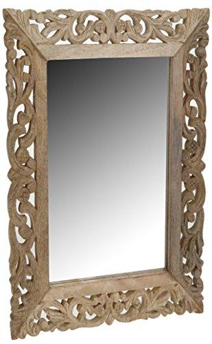 Mazali Spiegel 50X70X2Cm Mangoholz mit offenen Schnitzen 3 Ass Farben Wirkliche Natur, Glas, Multicolour, 50 x 70 x 2 cm