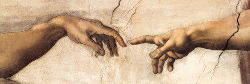 Smal affisch skapandet av Adam Hands Detail av Michelangelo med tillbehörsartikel flerfärgad