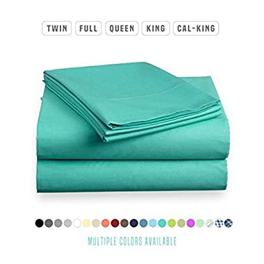 Luxe Bedding Sets - Microfiber Twin Sheet Set 3 Piece Bed Sheets, Deep Pocket Fitted Sheet, Flat Sheet, Pillow Case Twin Size - Turquoise
