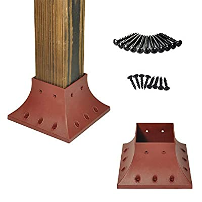 Myard PNP114040-R 4x4 (Actual 3.5x3.5) Inches Post Base Cover Skirt Flange with Screws for Deck Porch Handrail Railing Support Trim Anchor (Qty 4, Red Clay)