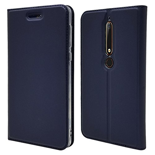 Nokia 6.1 Case,Jaorty Classic PU Leather Wallet Case Slim Folio Book Cover with Credit Card Slots,Cash Pocket,Stand Holder,Magnetic Closure Protective Case for Nokia 6 2018 -Blue