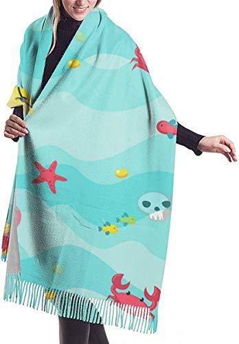 Imiteren kasjmier voelen winter sjaal Pashmina sjaal wraps zachte warme deken sjaals elegante wrap voor vrouwen er zijn krabben kwallen en schatten in de zee