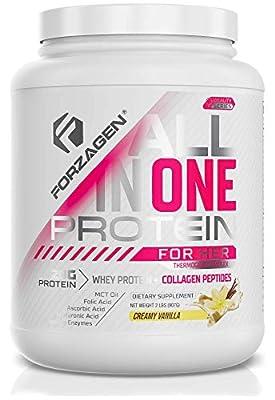 Forzagen Protein Powder for Women - Protein Shake With Collagen Powder for Women | High Protein Snacks And Collagen Supplement | Folic Acid | Hyaluronic Acid | Folic Acid | MCT oil | Collagen Peptides