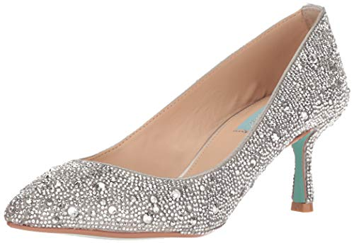 Blue by Betsey Johnson Women's SB-JORA Pump, Silver Satin, 6 M US