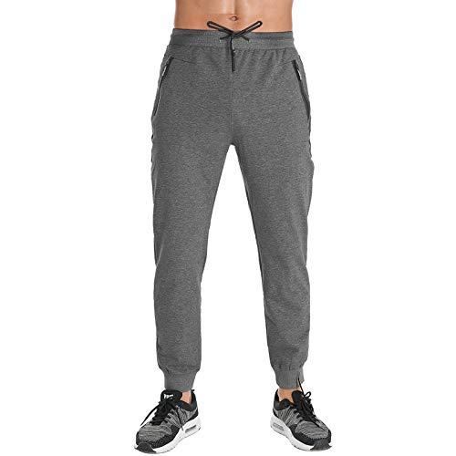 FEDTOSING - Pantalones largos de deporte para hombre, de algodón, con cremallera, bolsillos gris oscuro M