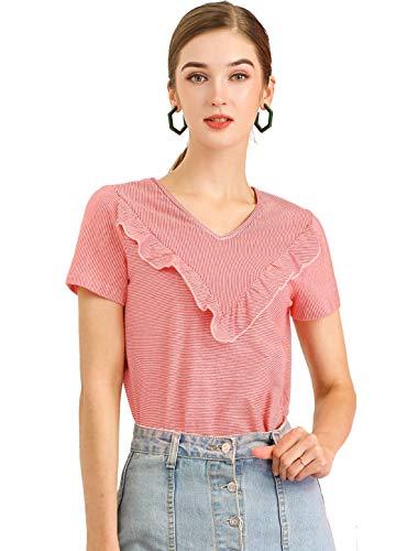 Allegra K Women's V Neck Casual Ruffle T-Shirt Striped Blouse Short Sleeve...