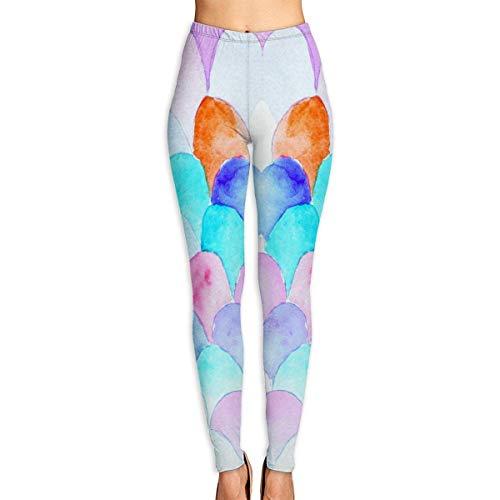 VAICR NCRSPIC Strumpfhosen Hosen,Personalized Tie-Dye Watercolor Art Mermaid Fish Scales Women's Printed Leggings Pants For Sports Yoga Workout Gym Running