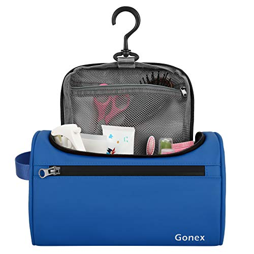 Gonex Travel Toiletry Bag for Men Women, Hanging Cosmetic Makeup Organizer Bags, Portable Waterproof Dopp Kit Blue