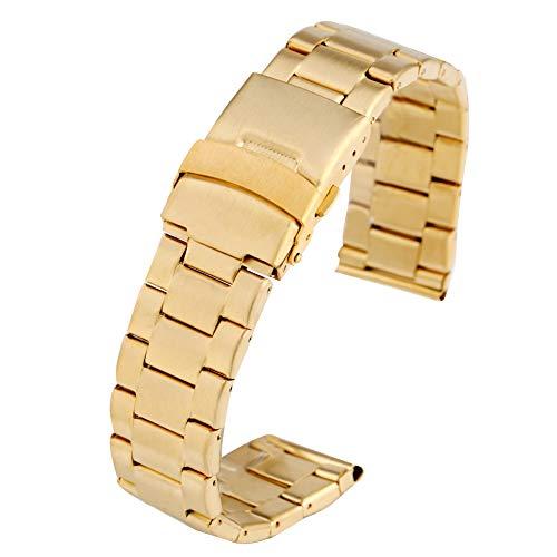 Cinturino per orologi da polso in acciaio inox, 22 mm, flessibile, con chiusura pieghevole e cinturino di sicurezza