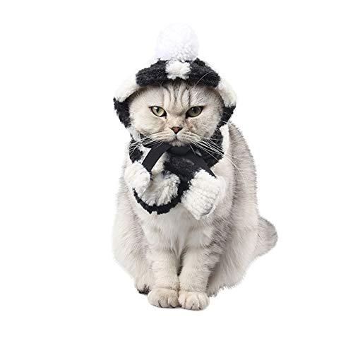 Etophigh puppy hoed sjaal set dikke strepen met pluche bal huisdier honden warme leveringen voor herfst winter hond accessoires, Small, zwart