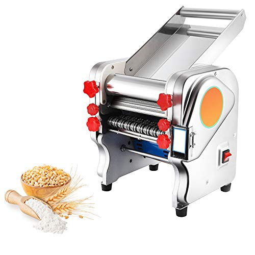 CGOLDENWALL Máquina de Pasta Semiautomático Eléctrica de Acero Inoxidable de Espesor Ajustable 0.1mm-5mm Máquina de Rodillos Para Lasagna Ravioli Spaghetti Fettuccine (Cuchilla Plana de 3mm, 9mm)