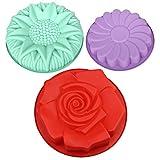 DanziX - Set di 3 stampi da forno in silicone, forma di girasole, a forma di girasole, antiaderenti, per feste di compleanno, torte, pane, fai da te, rosso, verde, viola