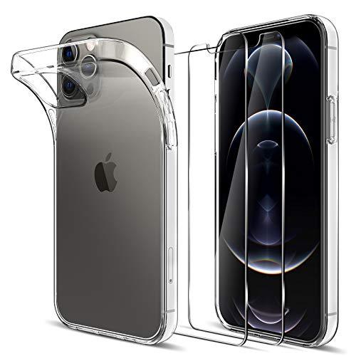 LK Kompatibel mit iPhone 12/12 Pro 6.1 Zoll Hülle mit 2 Stück Displayschutz Schutzfolie, Klar Schutzhülle Transparent TPU Silikon Handyhülle Durchsichtige Case Cover, Crystal Clear