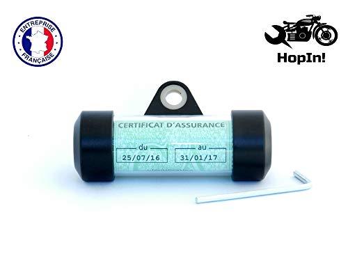 HopIn! L'Original, Halterung für Vignette, französisches Format, Aluminium, schwarz, wasserdicht, für Motorrad / Scooter / Quad