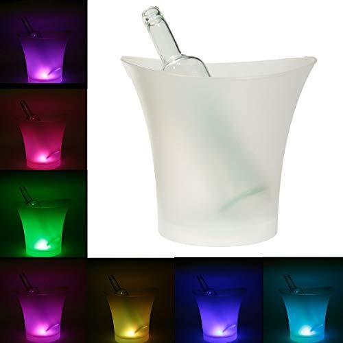 Jiedoasi 7 Farben LED Licht Eiskübel Champagner Wein Getränke Bier Eiskühler Bar Party 5L