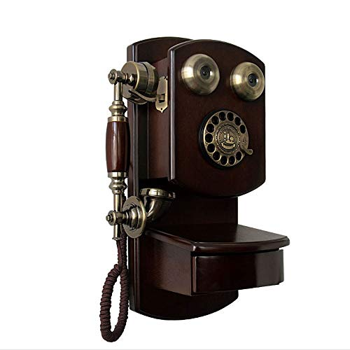 HWZSZSH Ancient Wooden Wall-Mounted Telephone Vintage Rotary Dial Retro Wired Telephone Fixed-line Landline Rotary dial Version