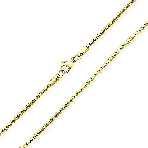 Bling Jewelry Unisex Thin Strong Simple Basic 2MM Amarillo Oro Plateado Plata Tono Acero Inoxidable Collar de Cadena Serpentina para Hombres Mujeres 20 Pulgadas