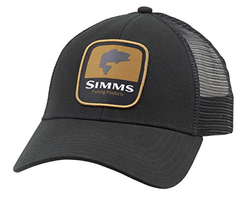Simms Bass Patch Trucker Hat, Snapback Cap with Fish
