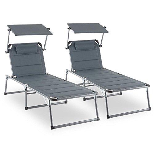 blumfeldt Amalfi Noble Grey Gartenliege Sonnenliege 2er-Set (Sonnendach, 5-Stufig verstellbare Rückenlehne, witterungsbeständig, Polyester-Gittergewebe, Schaumstoff-Polsterung) grau