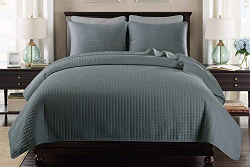Ultra Soft Bedspread Quilt Set Twin Size, Lightweight Microfiber Mini Check Coverlet for All Season, Quilt Set 2 Pieces(Include 1 Quilt, 1 sham ), Slate Blue