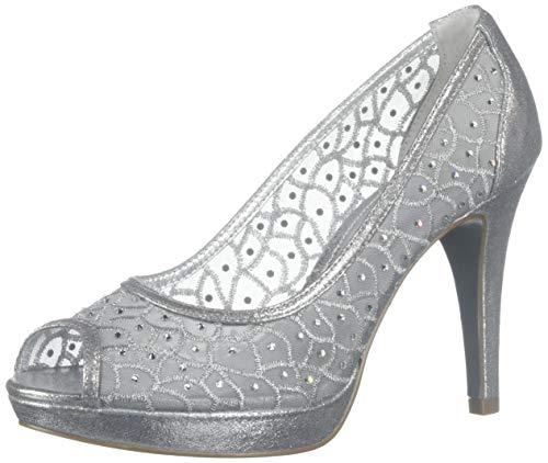 Adrianna Papell Womens Foxy Embellished Peep-Toe Heels Silver 10 Medium (B,M)